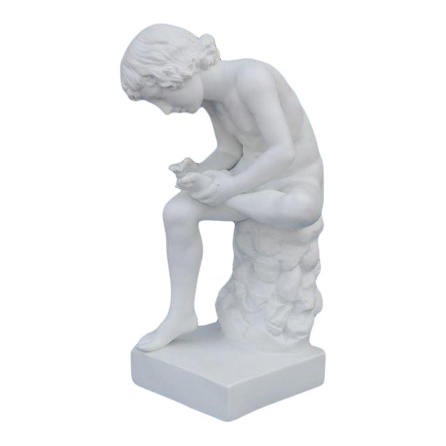 Parian Figure of a Boy With Thorn, English 19th C. For Sale