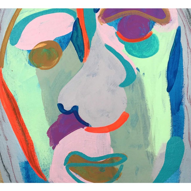 """Canvas Contemporary Abstract Portrait Painting """"Witness This"""" For Sale - Image 7 of 8"""