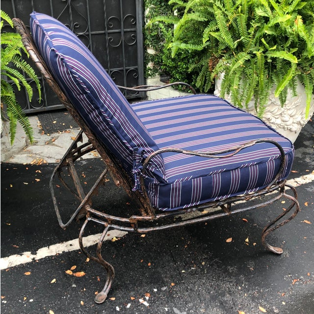 Italian Rose Tarlow Wrought Iron Outdoor Lounge Chairs - a Pair For Sale - Image 3 of 10