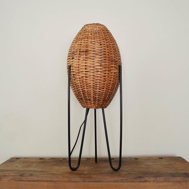 Vintage wicker iron hairpin leg table lamp by paul mayen chairish 1960s vintage wicker iron hairpin leg table lamp by paul mayen for sale image watchthetrailerfo