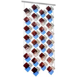 Organic Modern Italian Geometric Gray Purple Aqua Murano Glass Curtain / Divider For Sale