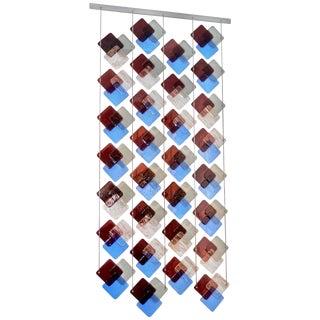 Organic Modern Italian Geometric Gray Purple Aqua Murano Glass Curtain / Divider For Sale