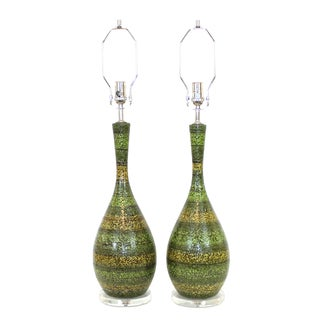 Mid-Century Striped Green Ceramic Lamps - A Pair