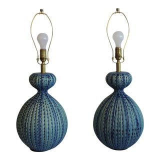 Large Scale Blue Mid Century Modern Ceramic Table Lamps - a Pair For Sale