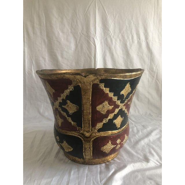 Metal Vintage Florentine Terracotta Hand Painted Planter For Sale - Image 7 of 7