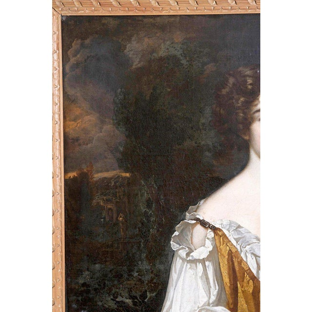 Baroque 18th Century English Portrait of Mrs. Overbury Circle of Sir Godfrey Kneller For Sale - Image 3 of 13