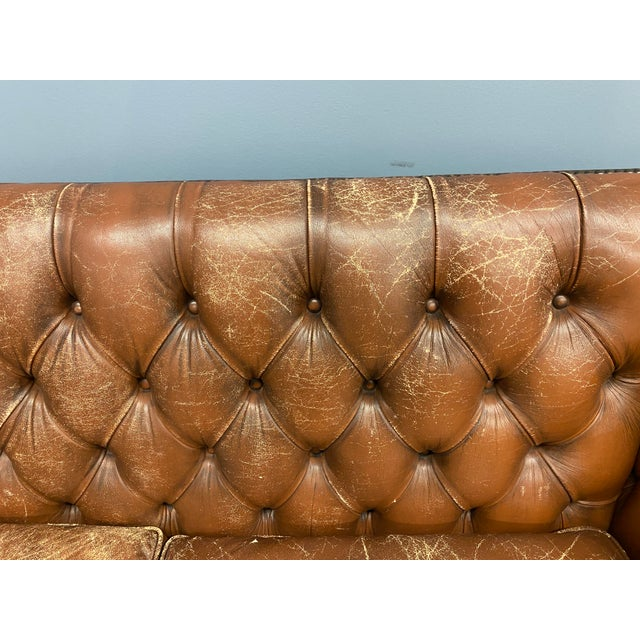 Vintage 1960s Leather Sofa For Sale In New York - Image 6 of 11