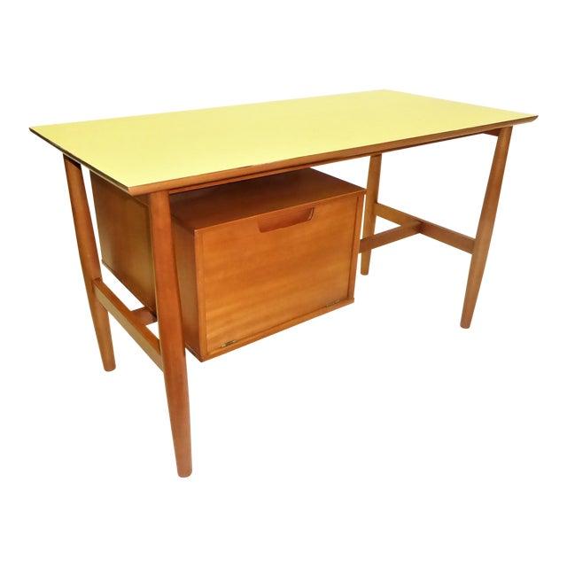1950s Mid-Century Modern Blond Elm Writing Desk by Milo Baughman for Drexel For Sale