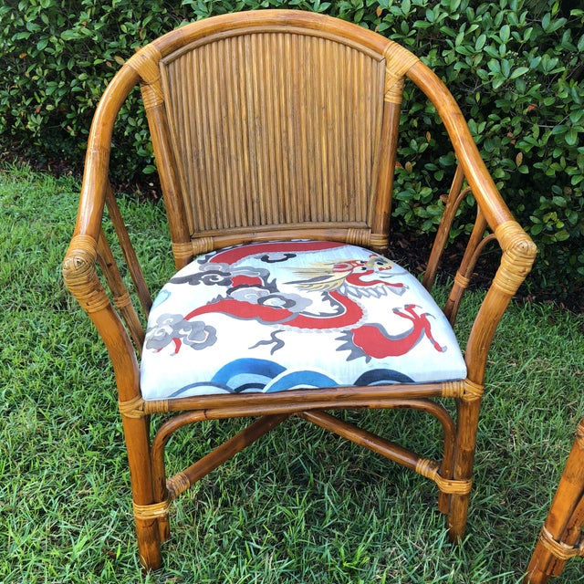 Asian Carleton Varney Fabric Upholstered Bamboo Arm Chairs - a Pair For Sale - Image 3 of 12