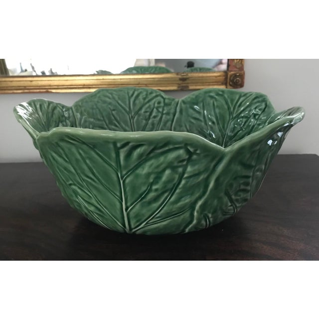 1980s Large Bordallo Pinheiro Majolica Green Cabbage Leaf Salad Bowl For Sale - Image 9 of 9