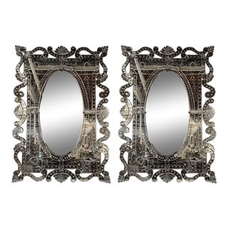 Hollywood Regency Venetian Mirrors, Etched Glass - a Pair For Sale