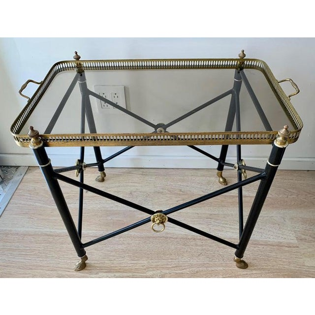 Italian Glass Tray Table With Brass Lion Detailing For Sale In Los Angeles - Image 6 of 10