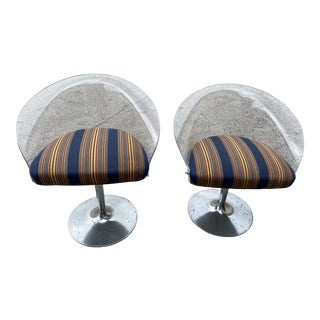 1960s Mid-Century Space Age Lucite Acrylic Swivel Chairs - a Pair For Sale