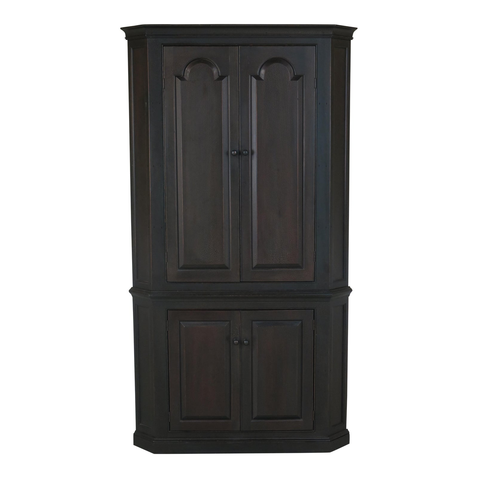 Dr Dimes Black Crackle Finish Primitive Country Corner Cabinet -