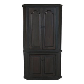 D.R. Dimes Black Crackle Finish Primitive Country Corner Cabinet For Sale