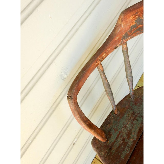 Wood Antique Rustic Painted Saloon Chair For Sale - Image 7 of 8