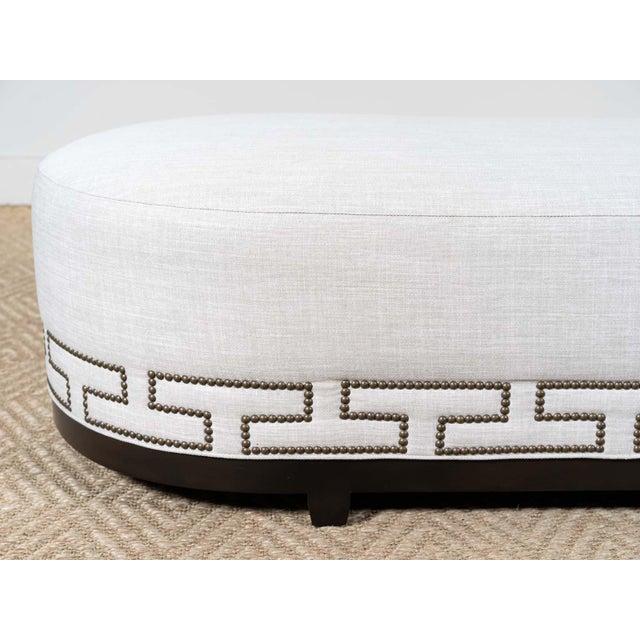 Modern Greek Key Upholstered Bench For Sale - Image 3 of 4