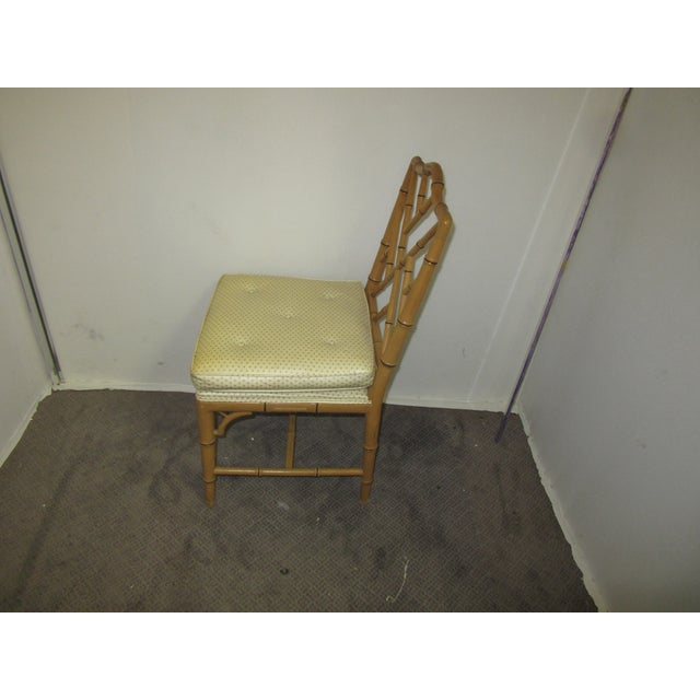 1970s Hollywood Regency Style Faux Bamboo Chairs in Original Natural Finish - Set of 6 For Sale - Image 5 of 9