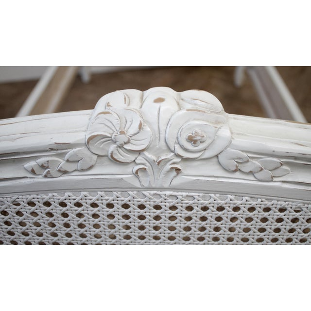 White Reproduction Twin Carved and Painted Louis XV Style French Bed With Cane For Sale - Image 8 of 12