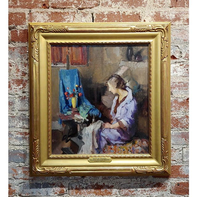 Gladys Nelson Smith - Woman in Purple Looking at Flowers- Beautiful Oil Painting For Sale - Image 11 of 11