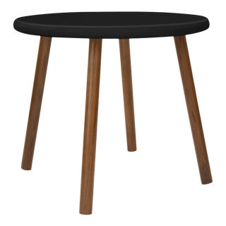 """Peewee Small Round 23.5"""" Kids Table in Walnut With Black Finish Accent For Sale"""