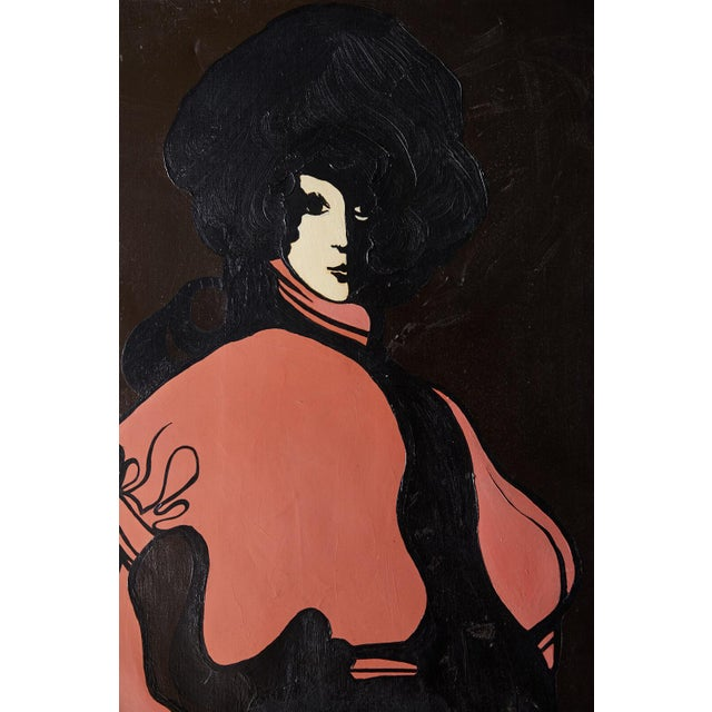 Boho Chic 60s Mod Stylized Portrait of a Woman For Sale - Image 3 of 9