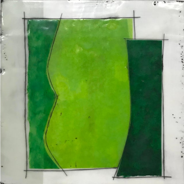 "Gina Cochran ""Perceptions No. 26"" Encaustic Collage Painting - Emerald & Peridot For Sale"