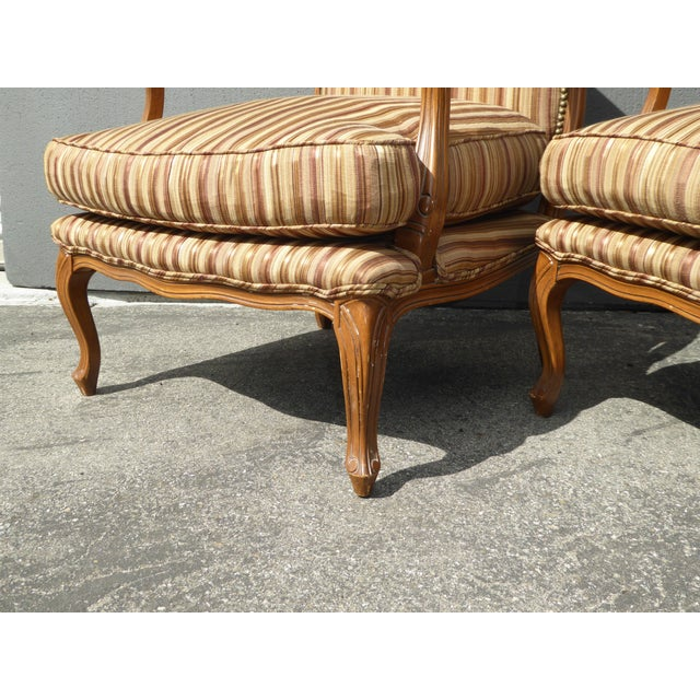 Vintage French Country Brown Stripped Accent Chairs With Down Cushions - a Pair For Sale - Image 9 of 12