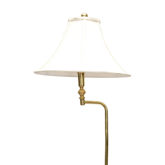 Hollywood Regency tall swing arm brass floor lamp with shade. It is easy to swing in a 90 degree angle, perfect for...