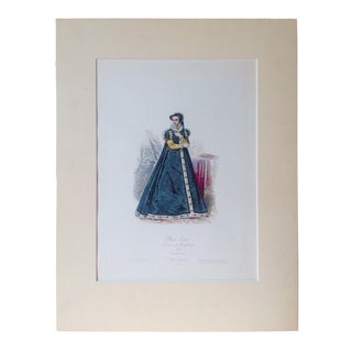 "19th Century Antique ""Marie Tudor"" French Women's Fashion Engraving Print For Sale"