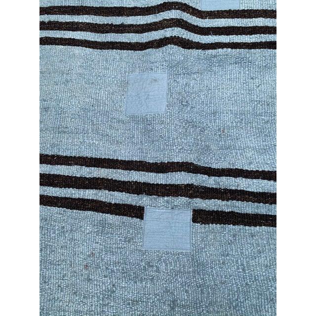 Mid-Century Modern Mid 20th Century Vintage Blue & Brown Stripe Hemp Runner-3′6″ × 9′2″ For Sale - Image 3 of 8
