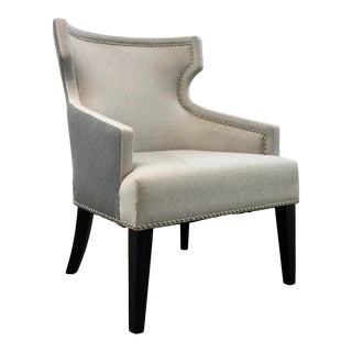 Modern Gray and Beige Klismos Back Club Chair For Sale