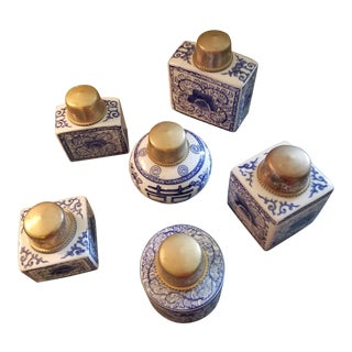 Decorative Asian Jars - a Set of 6 For Sale