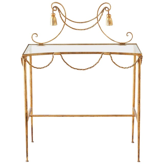 Hollywood Regency Gilt Iron and Faux Rope Vanity For Sale