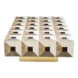 Image of Custom Geometric Design Marble and Brass Coffee Table For Sale