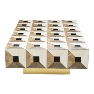 Custom Geometric Design Marble and Brass Coffee Table For Sale