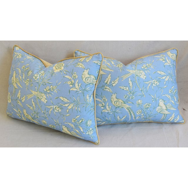 """Scalamandre Aviary Linen & Velvet Feather/Down Pillows 25"""" X 18"""" - Pair For Sale - Image 9 of 13"""