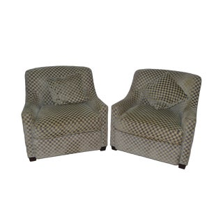 Baker Upholstered Club Lounge Arm Chairs - A Pair For Sale