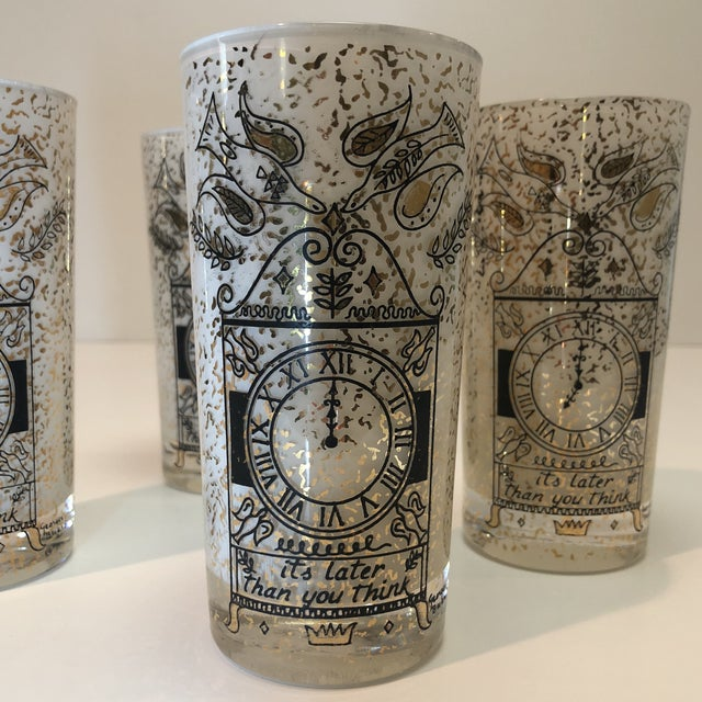"""Georges Briard """"It's Later Than You Think"""" 22k Glasses - Set of Four For Sale - Image 9 of 10"""