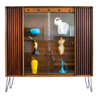 1960s Lane Furniture Walnut Display Case For Sale