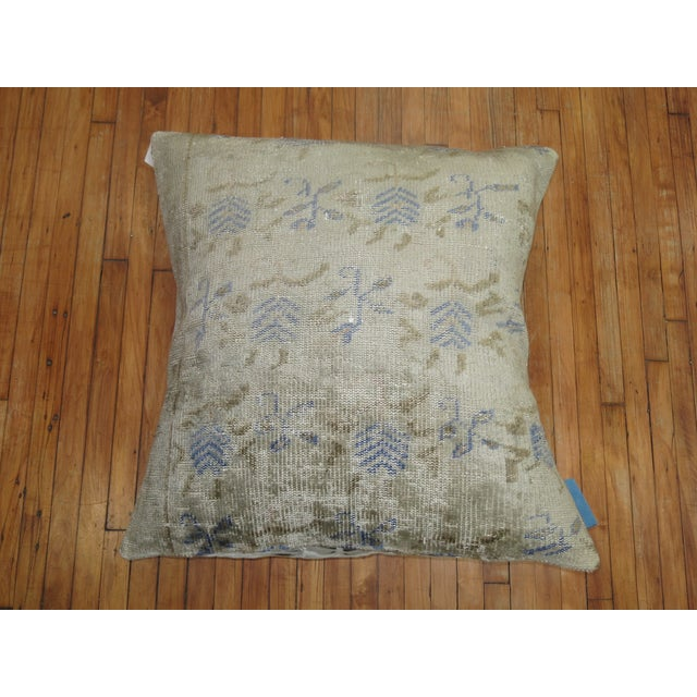Giant size pillow made from a vintage turkish rug with cotton tie dye printed back. Foam insert provided. 36'' x 36''.