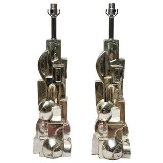 1970s Art Deco Inspired Cubist Plated Plaster Table Lamps - a Pair For Sale