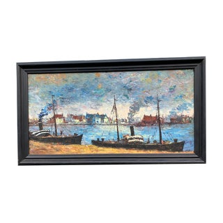 Original Signed Blue Impressionist Steam Ships Oil Painting For Sale