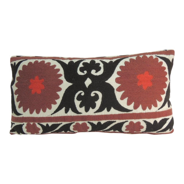Vintage Brown and Black Artisanal Suzani Embroidery Decorative Bolster Pillow For Sale