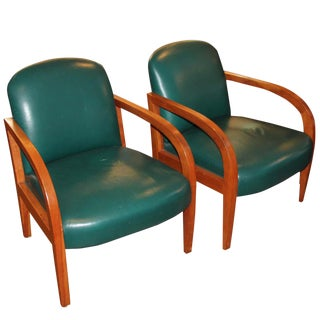 Pair of Donghia Leather Midcentury Armchairs For Sale