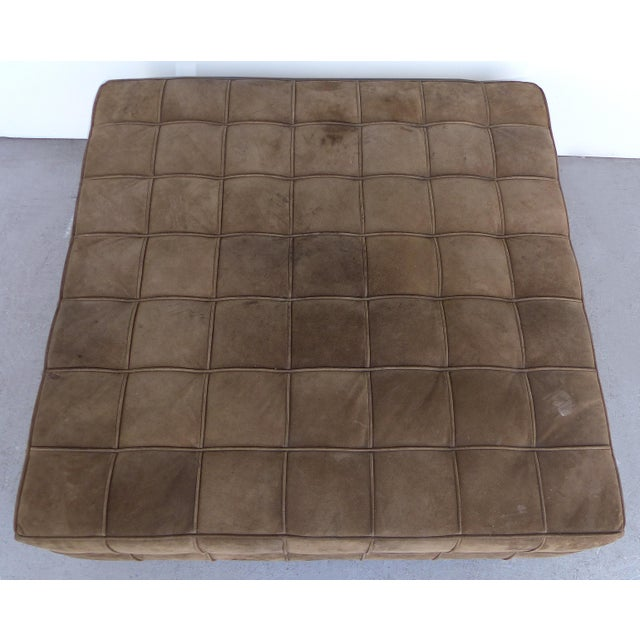 Offered for sale is a custom made large tufted square suede ottoman with modern square chrome feet that we recently...