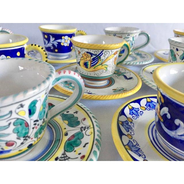 Ceramic Artistica Italian Majolica Espresso Cups and Saucers - Set of 9 For Sale - Image 7 of 13
