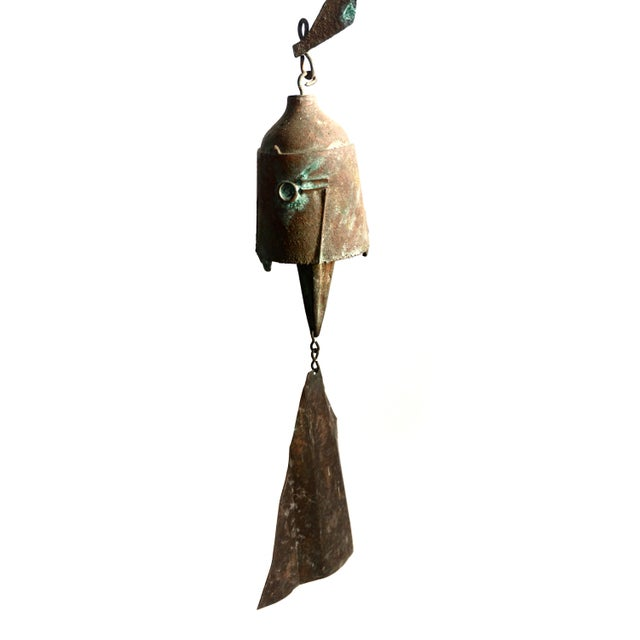 Early Paolo Soleri Original Bronze Wind Chime | Brutalist Bronze Soleri Bell | Consanti Geometric Garden Windbell For Sale - Image 10 of 12