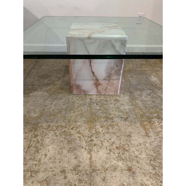 Pink 1970s Glass and Pink Marble Coffee Table For Sale - Image 8 of 9