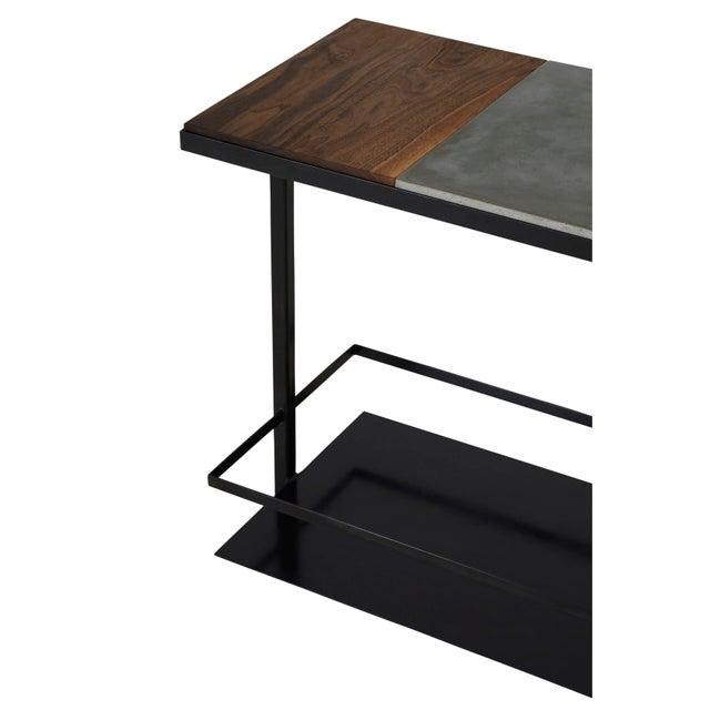 Stefan Rurak Concrete Steel and Walnut Bar Cart For Sale - Image 4 of 9